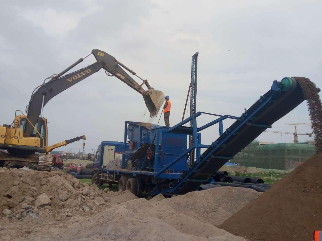 移动式石子破碎机如何将大块石头快速破碎?
